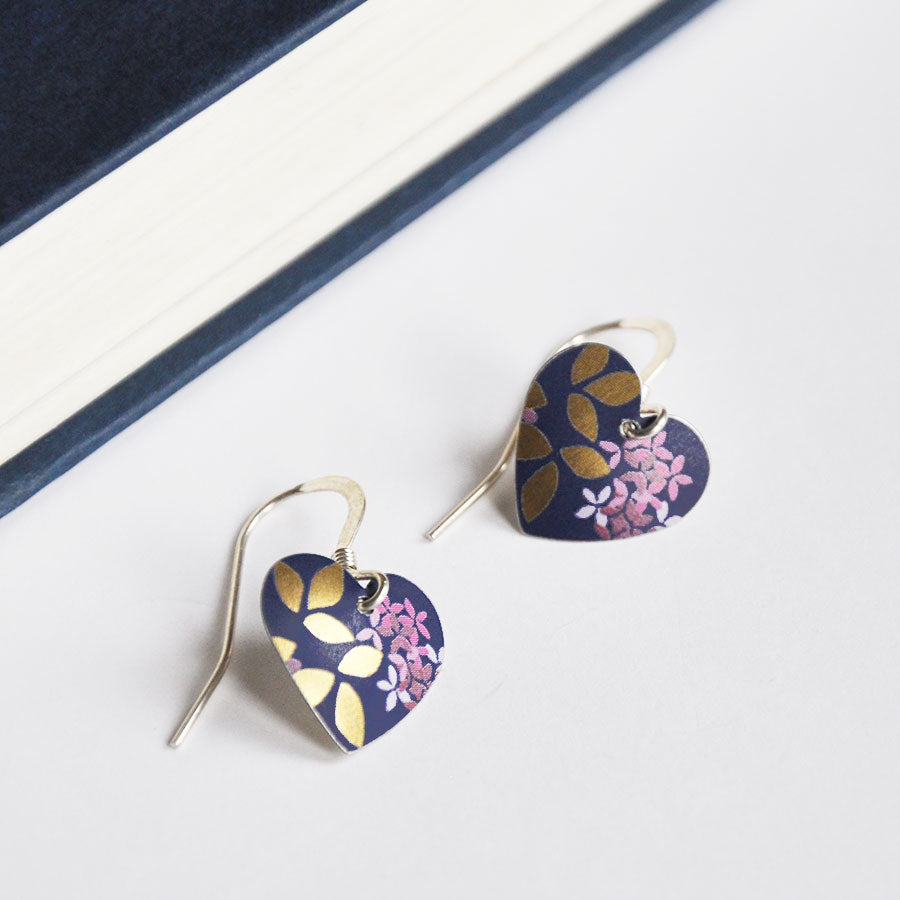 Kyoto Dark Blue Small Round Heart Earrings