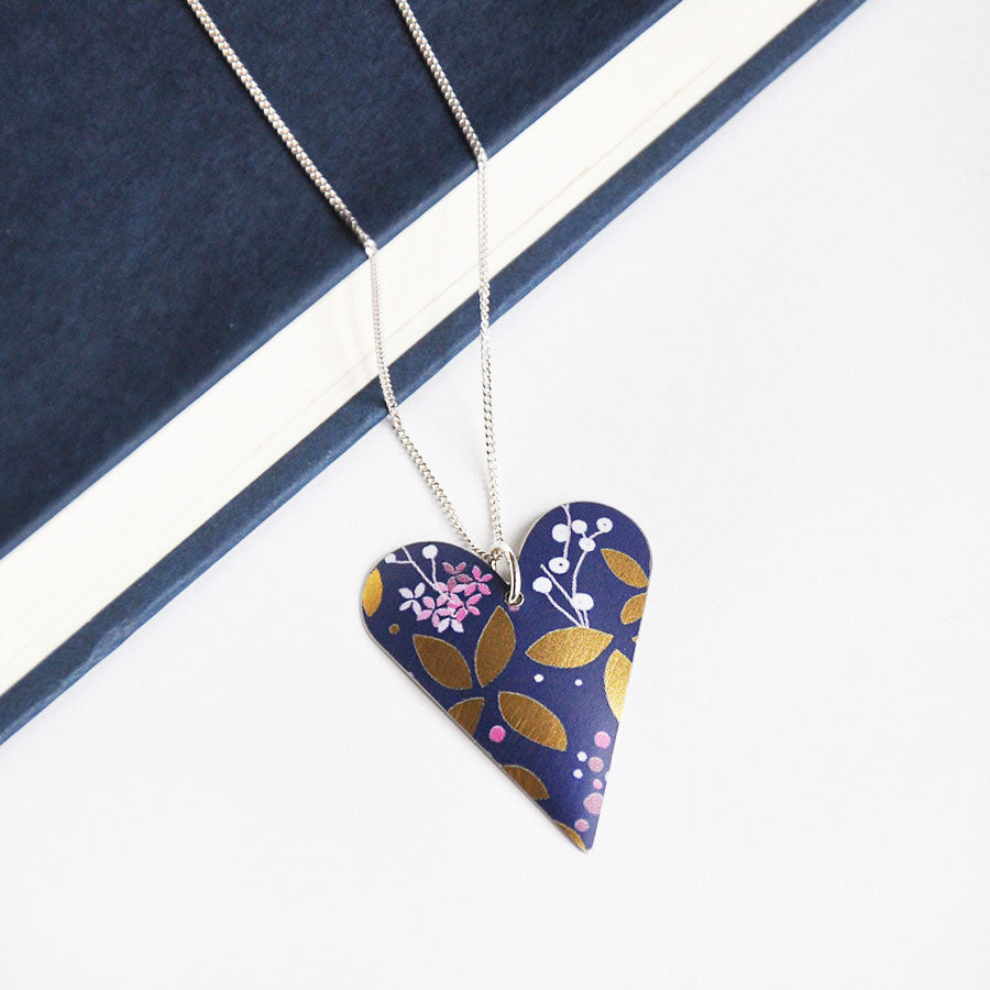 Kyoto Dark Blue Slim Heart Pendant Necklace