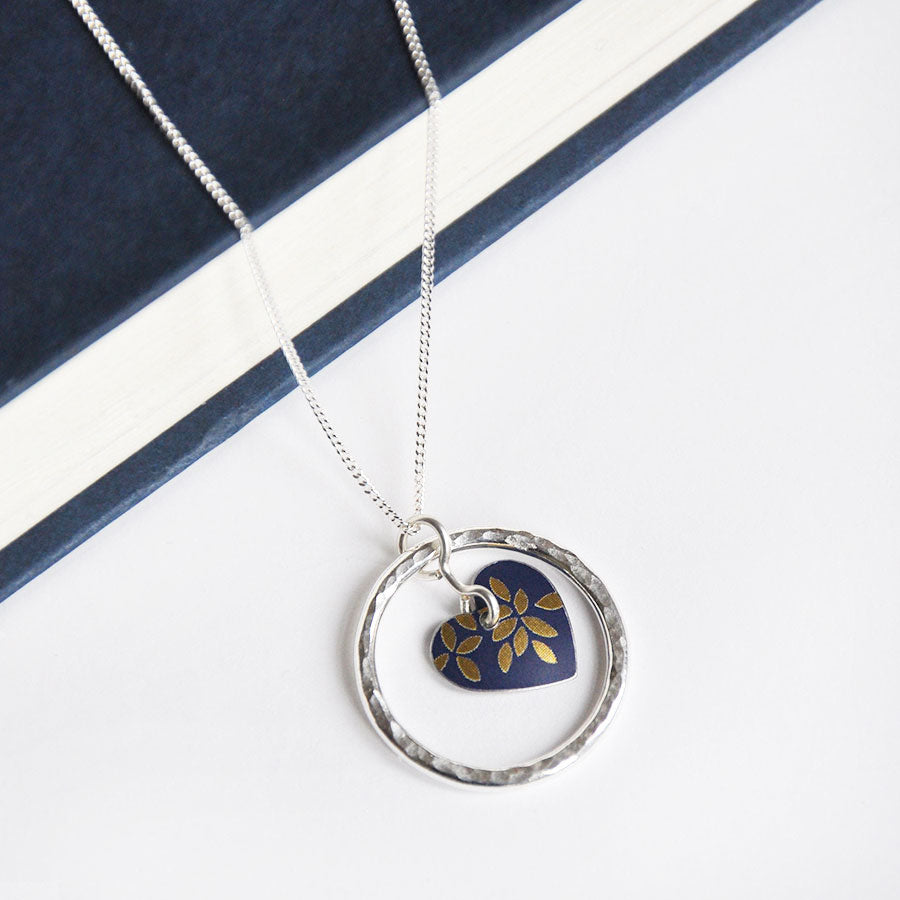 Kyoto Dark Blue Hammered Silver Circle of Life Pendant Necklace