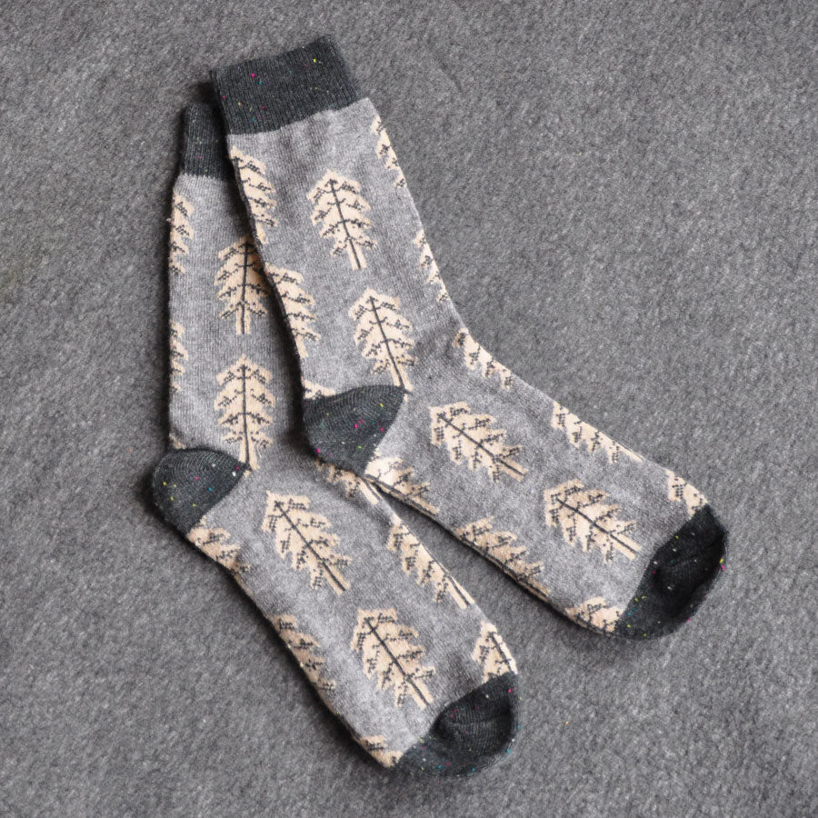 Light Blue & Grey Trees Wool Blend Socks