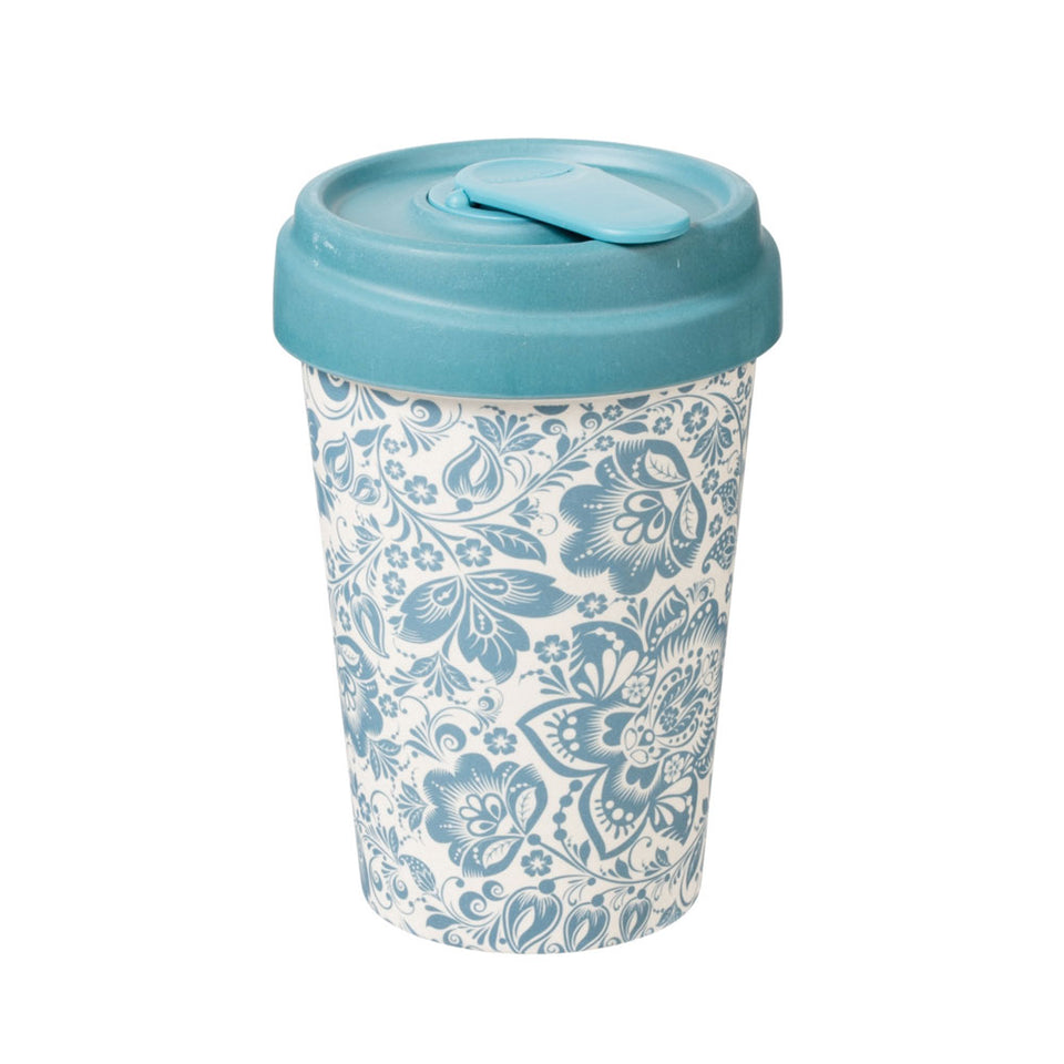Blue Flowers Bamboo Travel Mug Cup