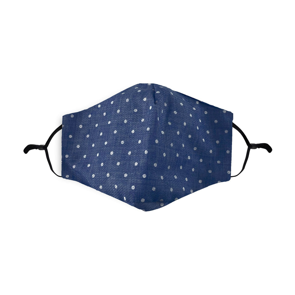 Blue Polka Dot Reusable Face Mask