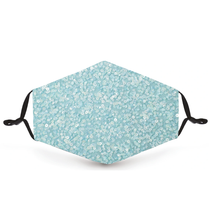 Aqua Blue Sequin Metallic Reusable Face Mask