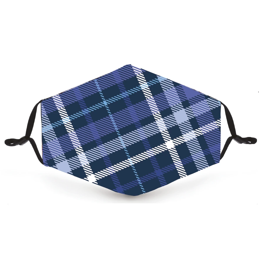Blue and Purple Tartan Print Reusable Face Mask