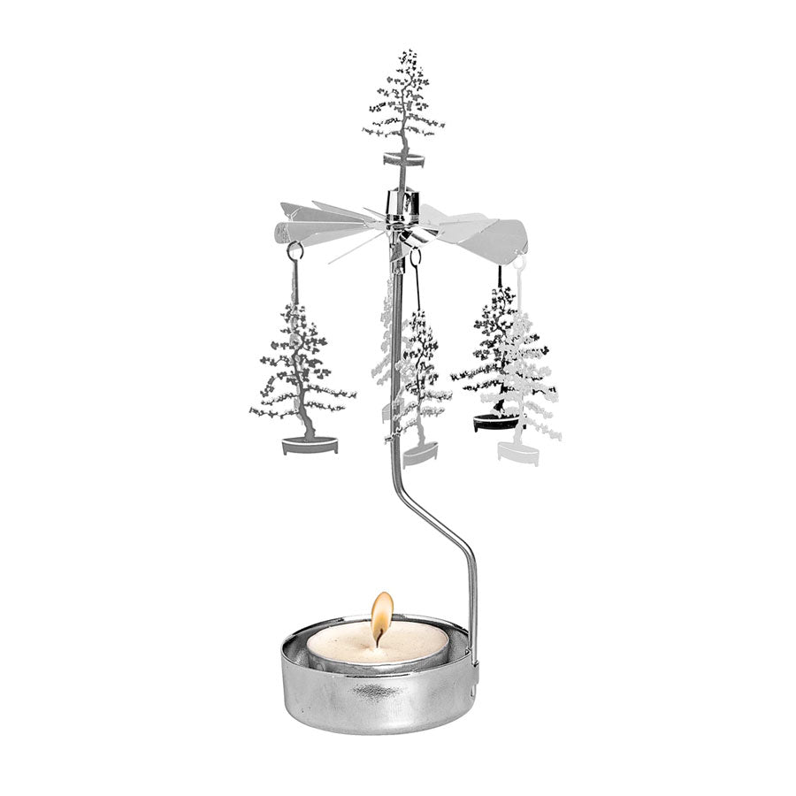 Bonsai Tree Silver Tea Light Rotary