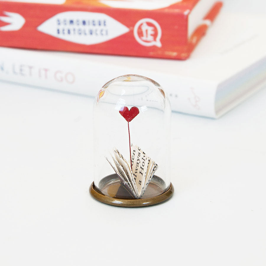Book with Heart Miniature Glass Dome Decoration