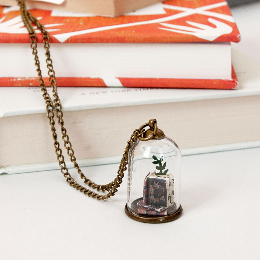 Library Leaf Miniature Dome Pendant Necklace