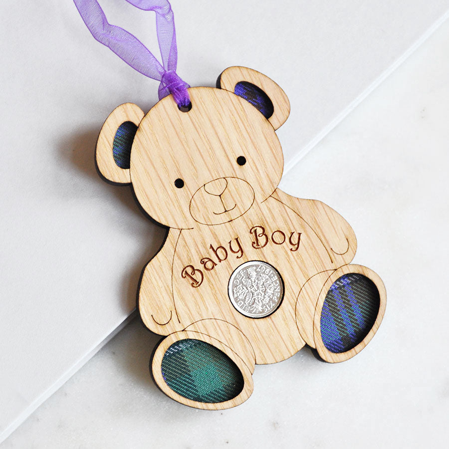 Baby Boy Bear Sixpence Hanging Decoration
