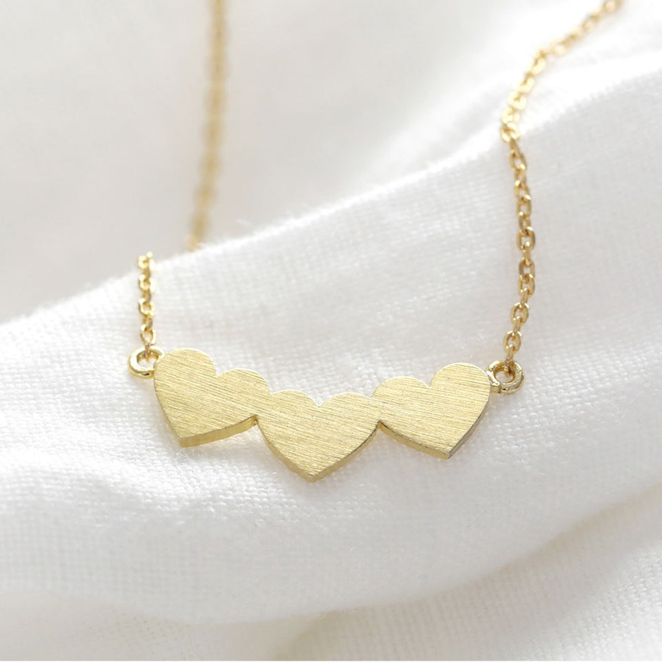 Brushed Gold Triple Heart Necklace