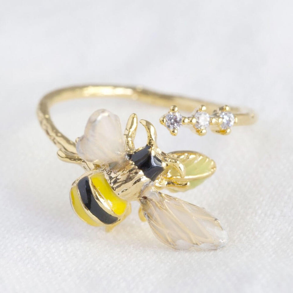 Bumble Bee Gem Open Adjustable Ring