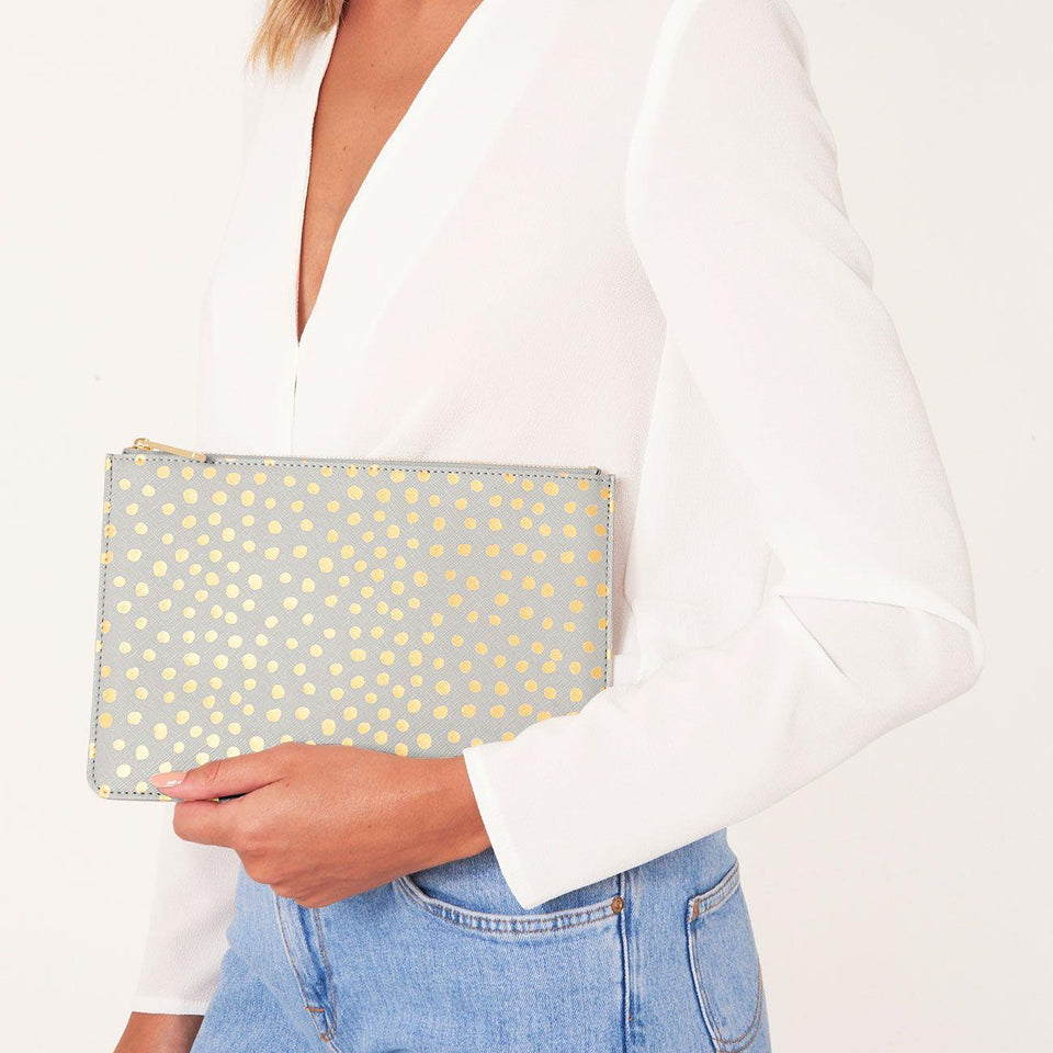 Pale Grey Perfect Pouch with Gold Foiled Dalmation Print