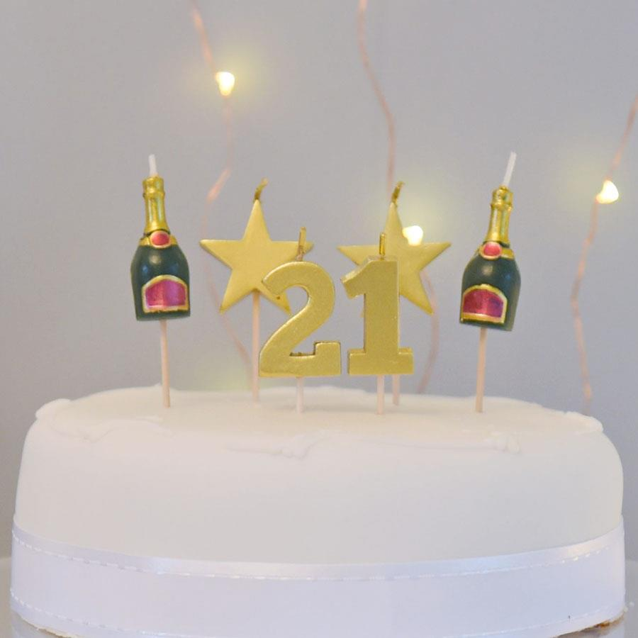 21 Cake Topper Candle Set