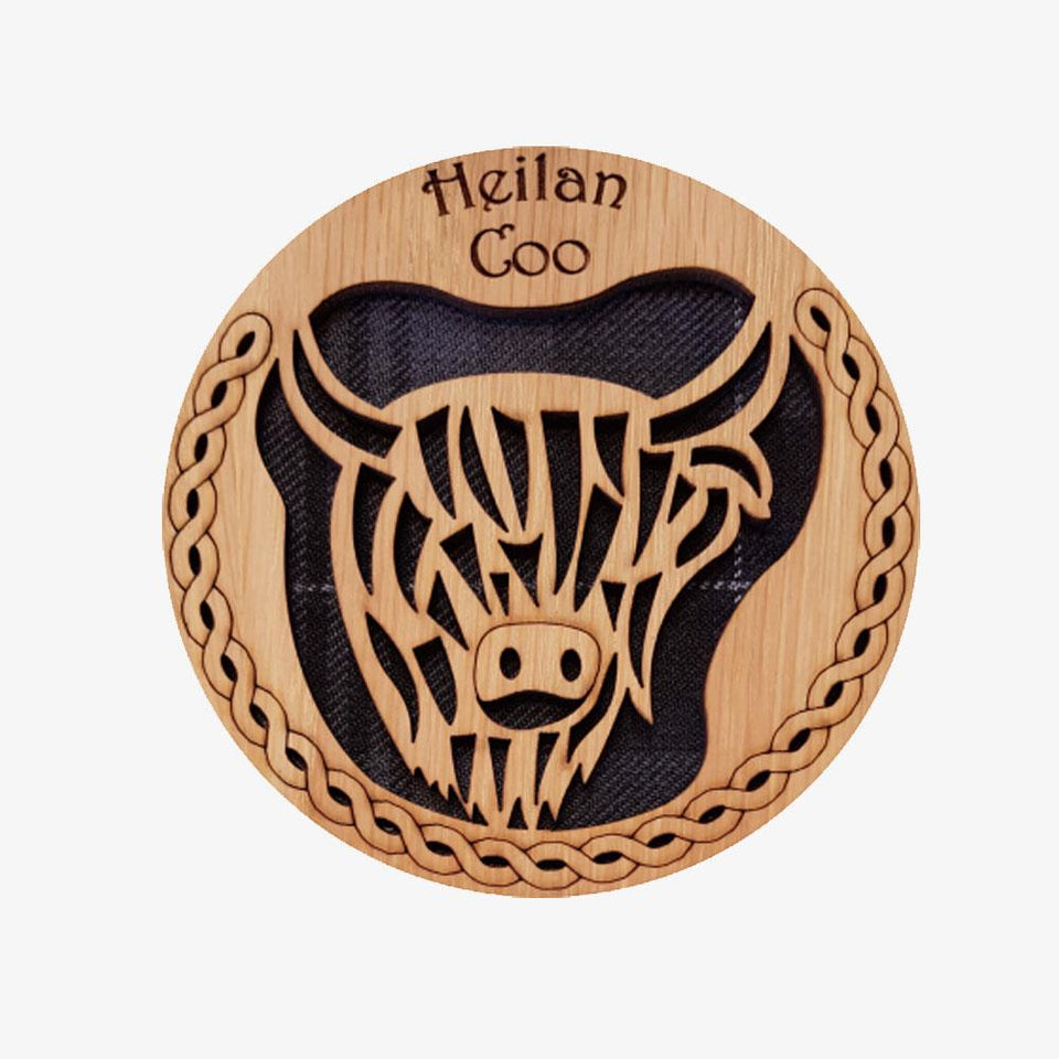Round Highland Coo Wooden Coaster