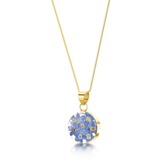 Gold Plated Forget Me Not Round Pendant Necklace