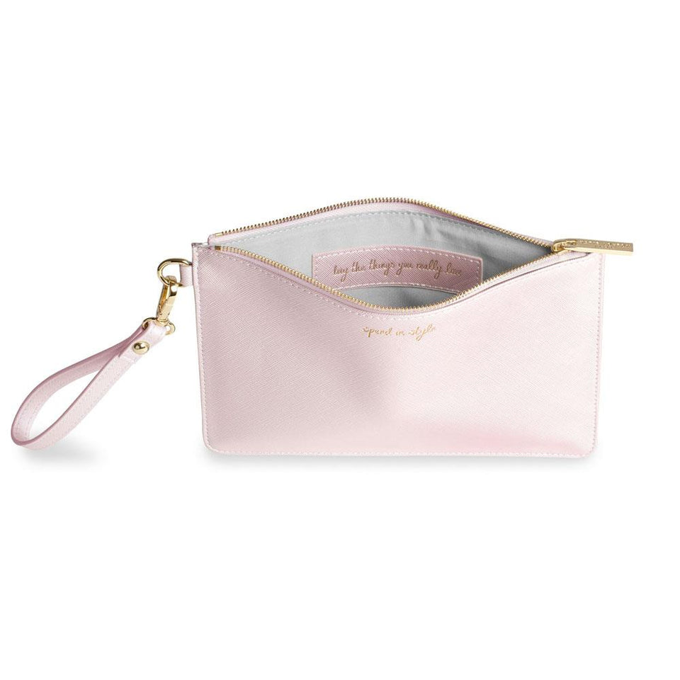 Spend in Style Secret Message Pouch in Metallic Pink