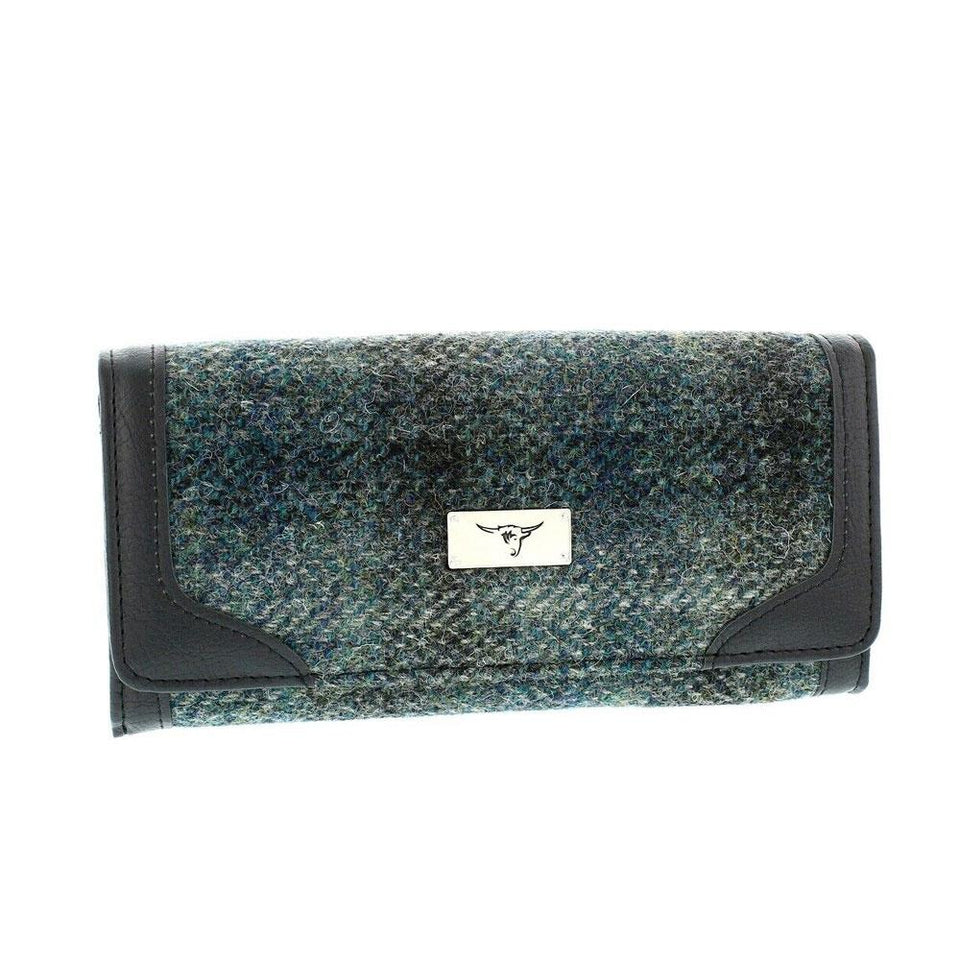 Bute Moss Green Harris Tweed Long Wallet