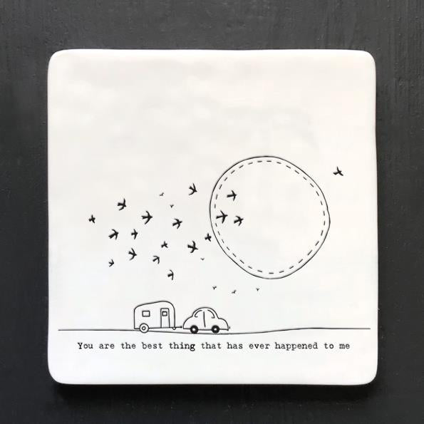 Best Thing Square Porcelain Coaster