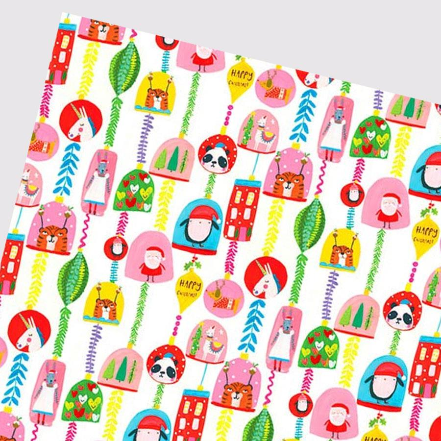 Happy Christmas Pink White Gift Wrap
