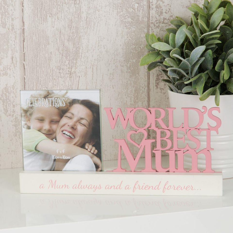World's Best Mum Wooden Cut Out Frame