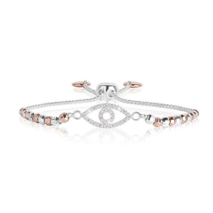 Amulet Eye Bracelet | Silver & Rose Gold