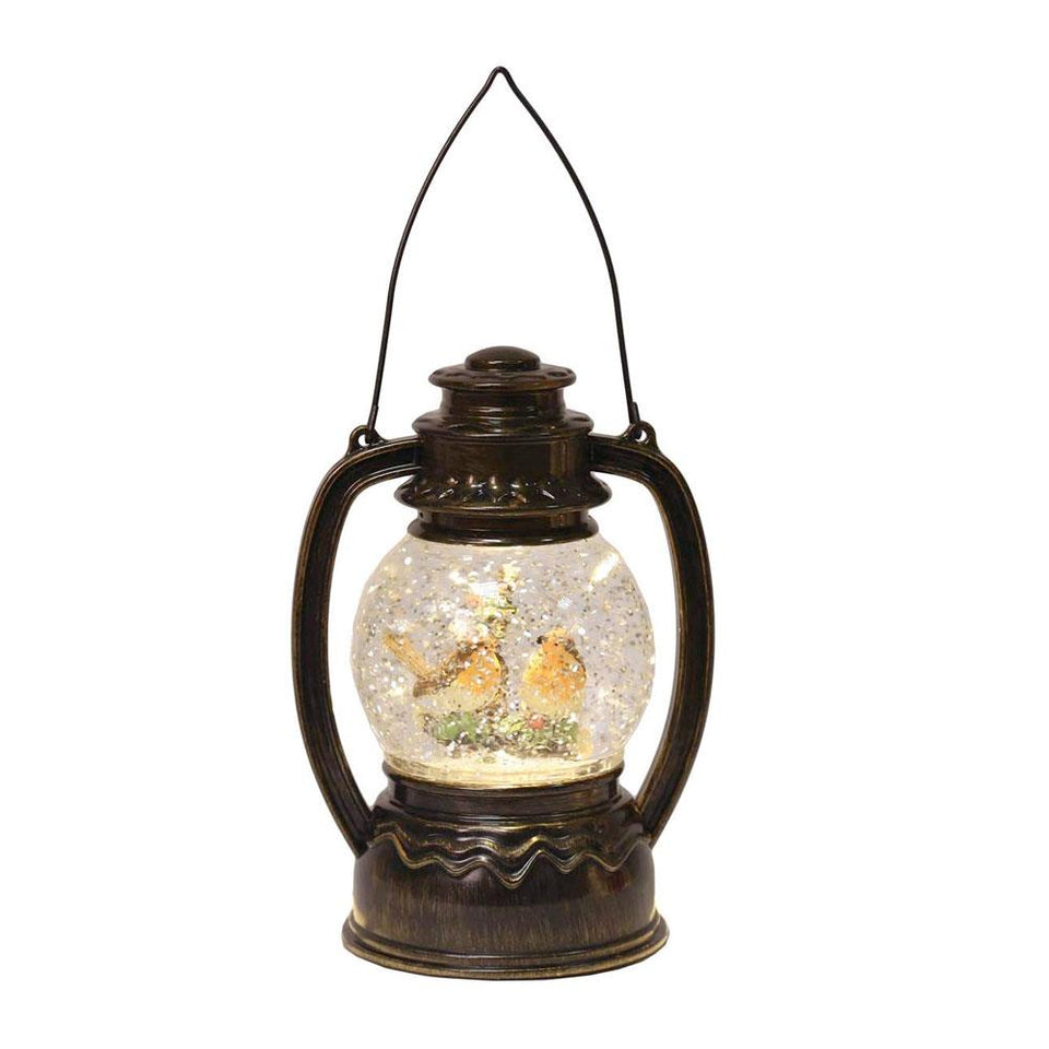 Robin Copper LED Light Lantern Snow Globe