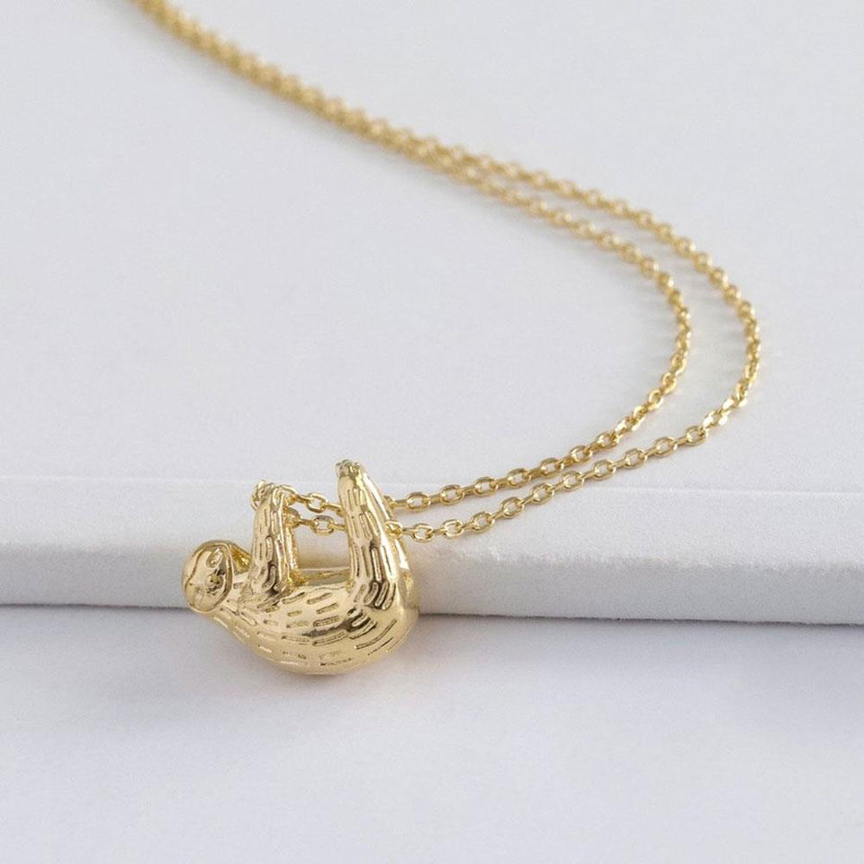Gold Plated Sloth Pendant Necklace