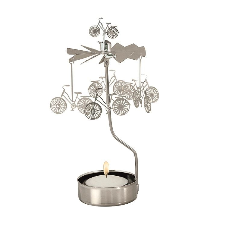 Silver Bike Tea Light Rotary