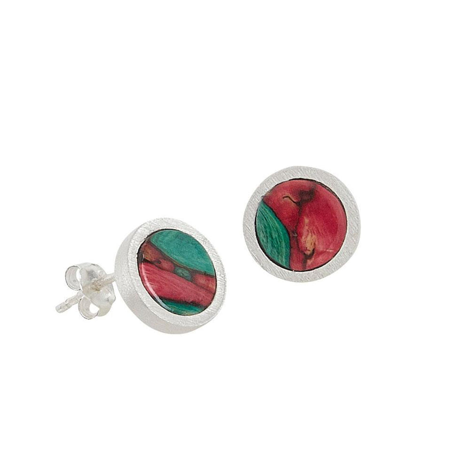 Round Satin Silver Stud Earrings