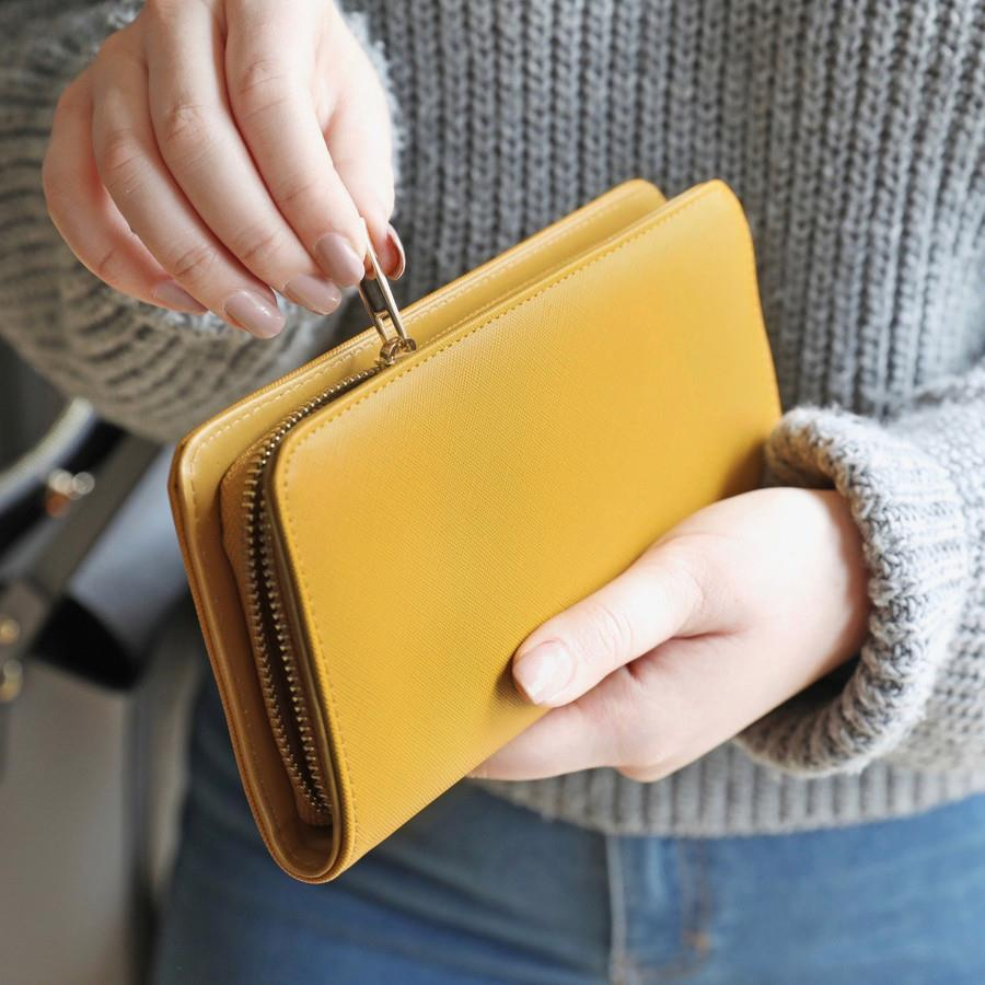 Large Mustard Yellow Zip Around Wallet