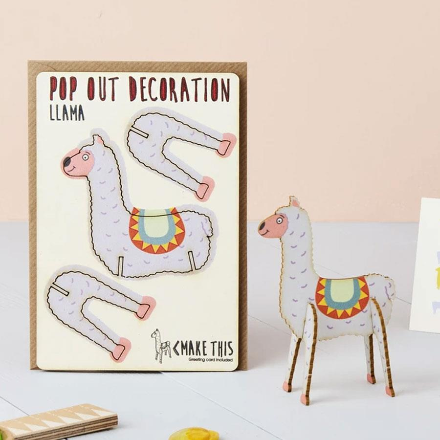Llama Wooden Pop Out Card