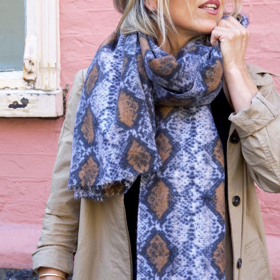 Snakeskin Patterned Soft Scarf