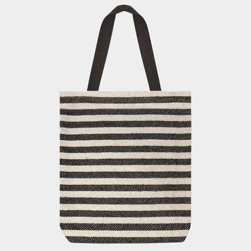Wide Black Striped Shopping Bag