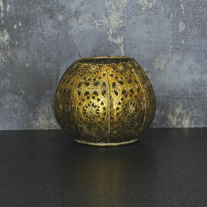 Small Round Metal Lantern | Antique Gold Look
