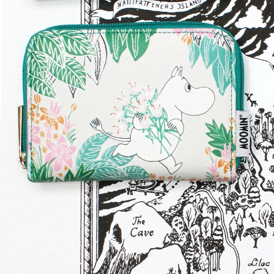 Moomin Flower Print Zip  Wallet