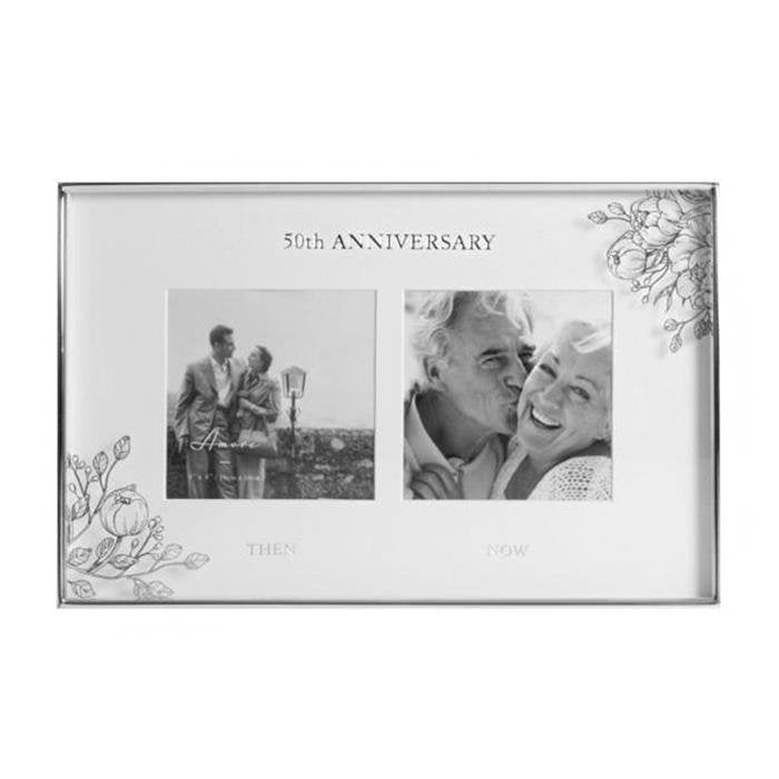 50th Anniversary Double Photo Frame | Silver Foil Floral Design