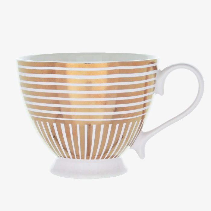 Rose Gold & Pink Striped Mug