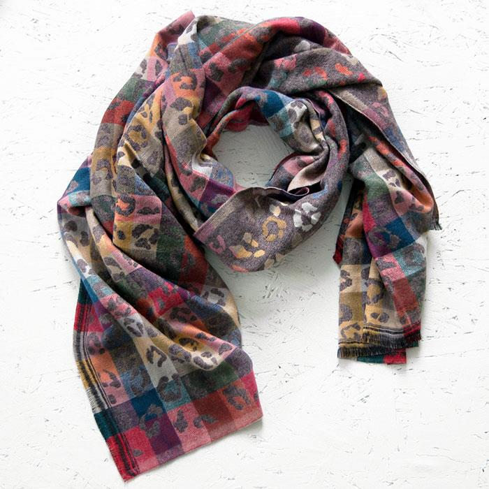Animal Jacquard and Taupe Scarf