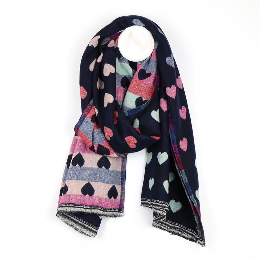 Navy Multicoloured Pastel Hearts Jacquard Scarf