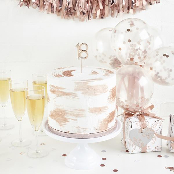 Rose Gold Diamante 18th Cake Topper