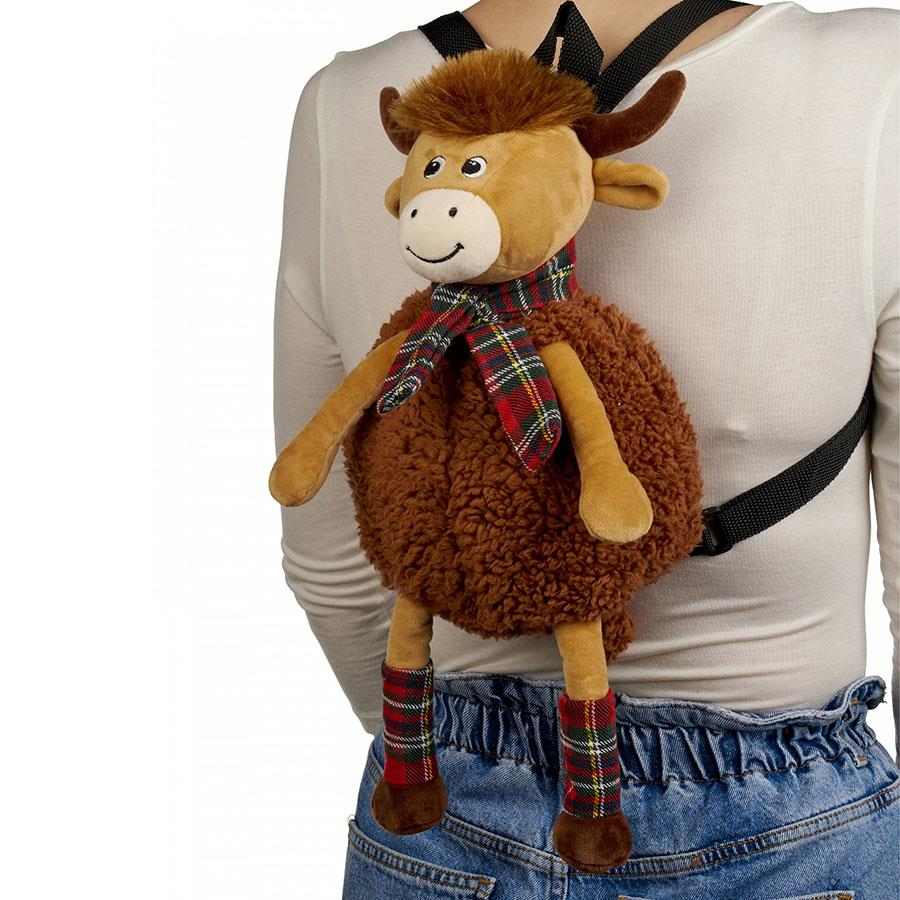 Highland Cow with Red Tartan Scarf Plush Backpack