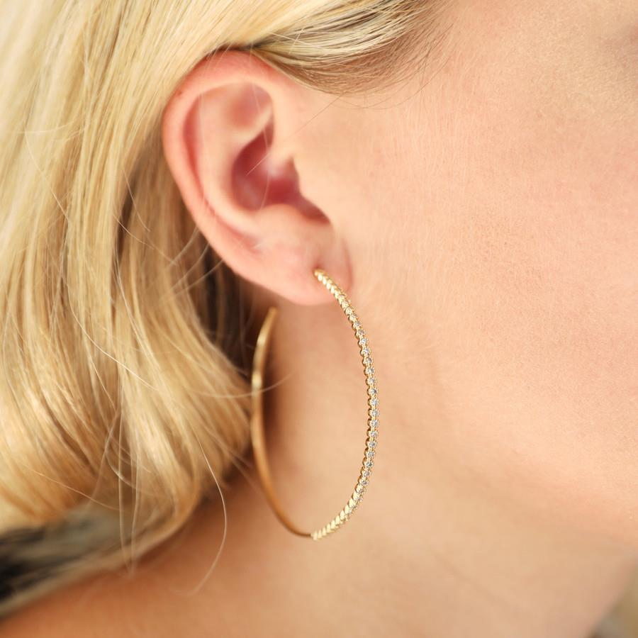 Large Gold Crystal Hoops