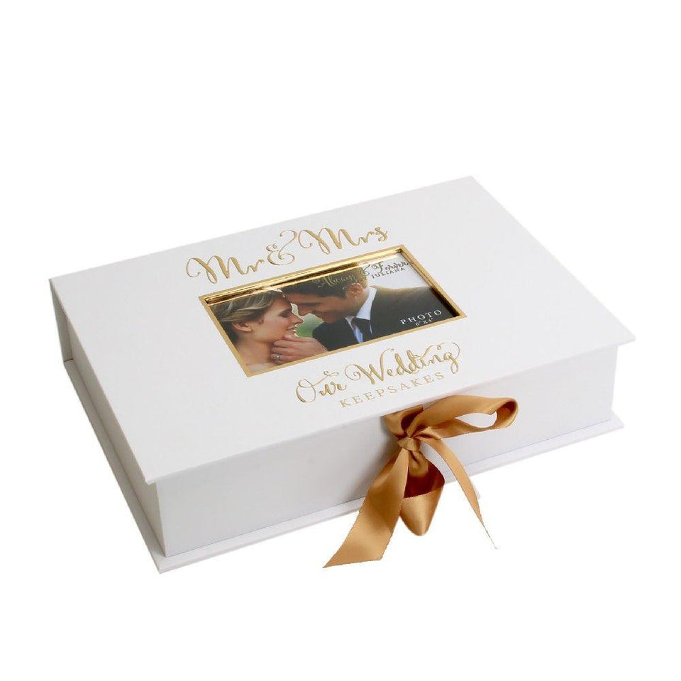 Mr & Mrs Always & Forever Gold Foil Keepsake Box