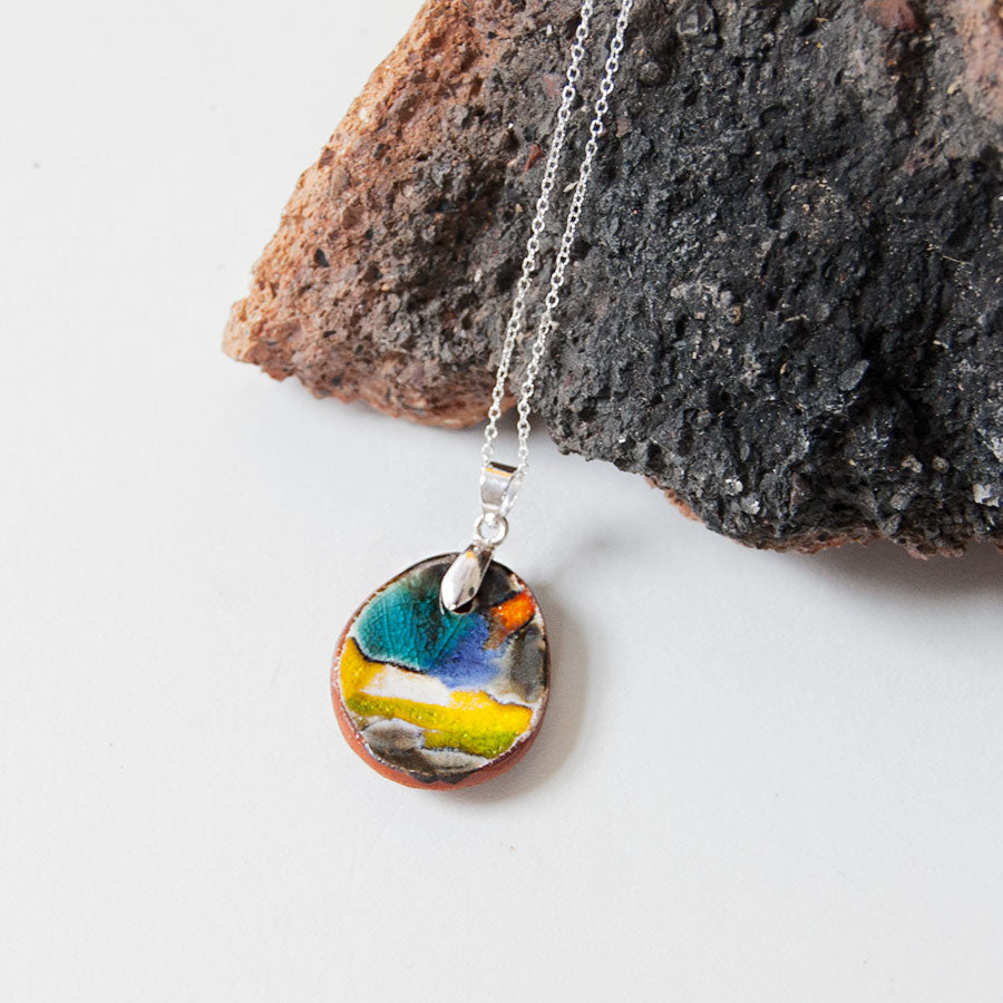 Glazed Ceramic Pendant Necklace