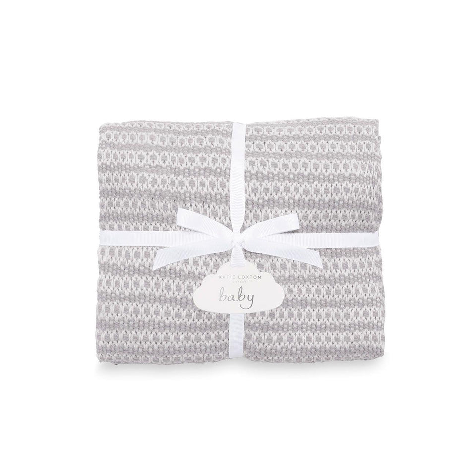 Soft Grey Cotton Knitted Baby Blanket