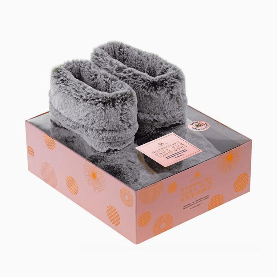 Grey Faux Fur Slipper Boots