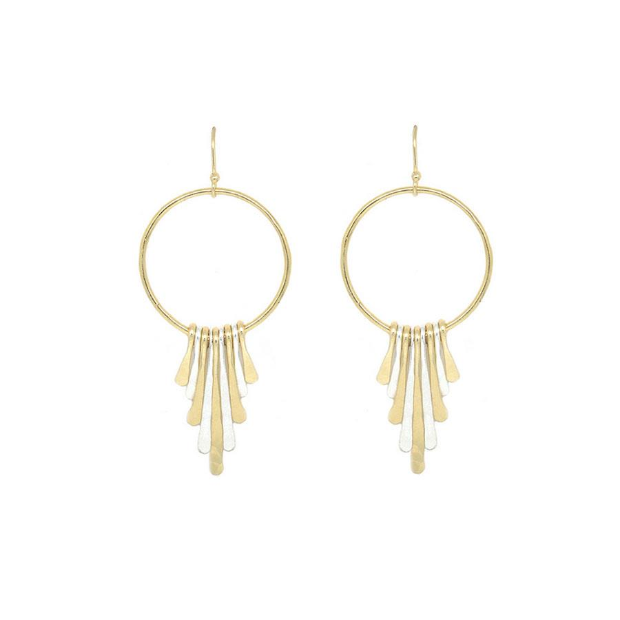 Two Tone Graduated Paddle Hoop Drop Dangle Earrings