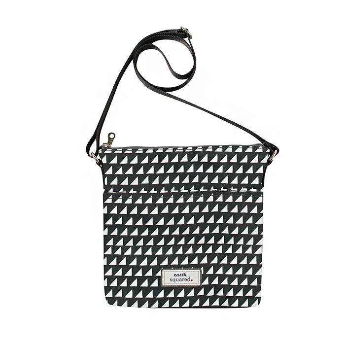 Grey Triangles Oil Cloth Messenger Bag