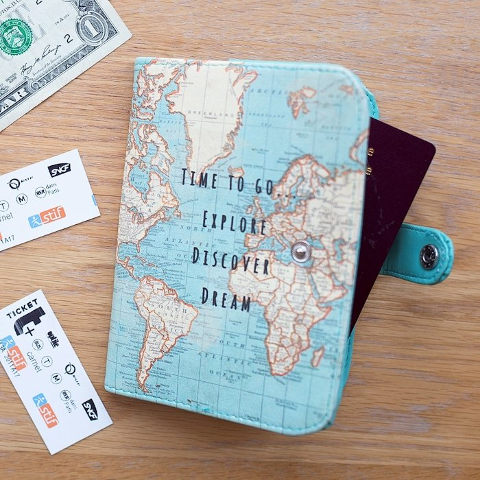 World Map Passport Holder | Time To Go