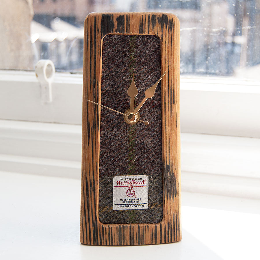Small Tweed Whisky Barrel Mantle Clock