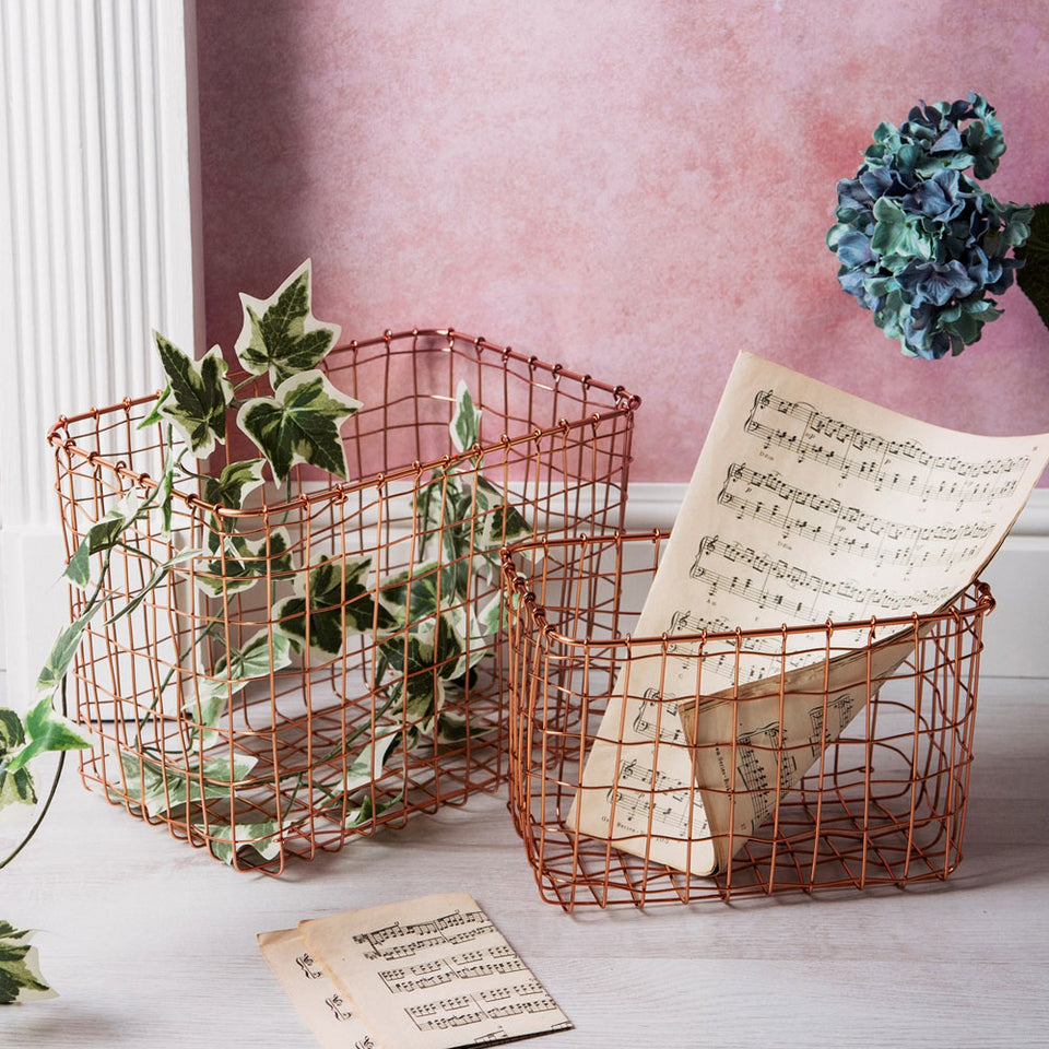 Copper Wire Baskets Set